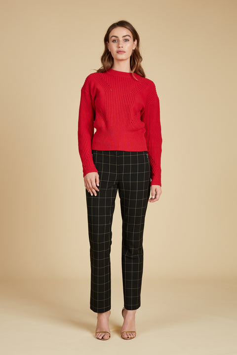 Tanya Taylor Eloisa Red Sweater - Front View