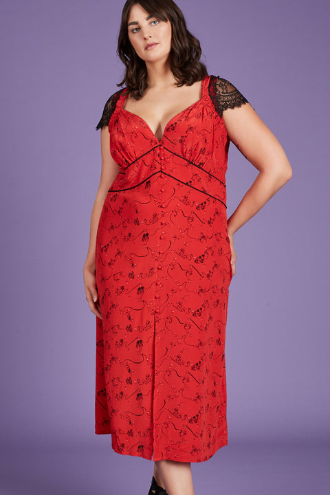 Tanya Taylor Kara Red Silk Dress - Front View