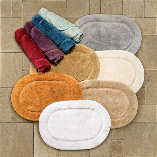 Oval Non Slip Premium Cotton Bath Rugs Set of 2, 10 Stylish Colors