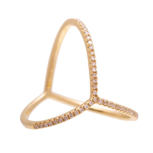 Bridge Ring - 14kt Diamond