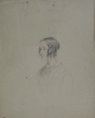 Portrait Study of a Young Woman<br>Early-Mid 1800s Graphite<br><br>#10108