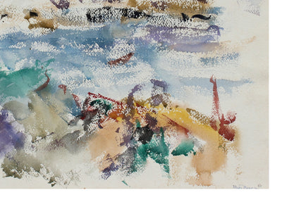 Rocky Coastal Abstract<br>1956 Watercolor<br><br>#99839