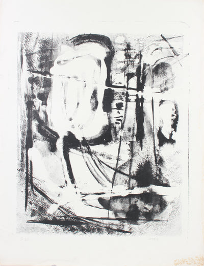Monochrome Splatter & Gesture Abstract <br>1950s Stone Lithograph <br><br>#A7377