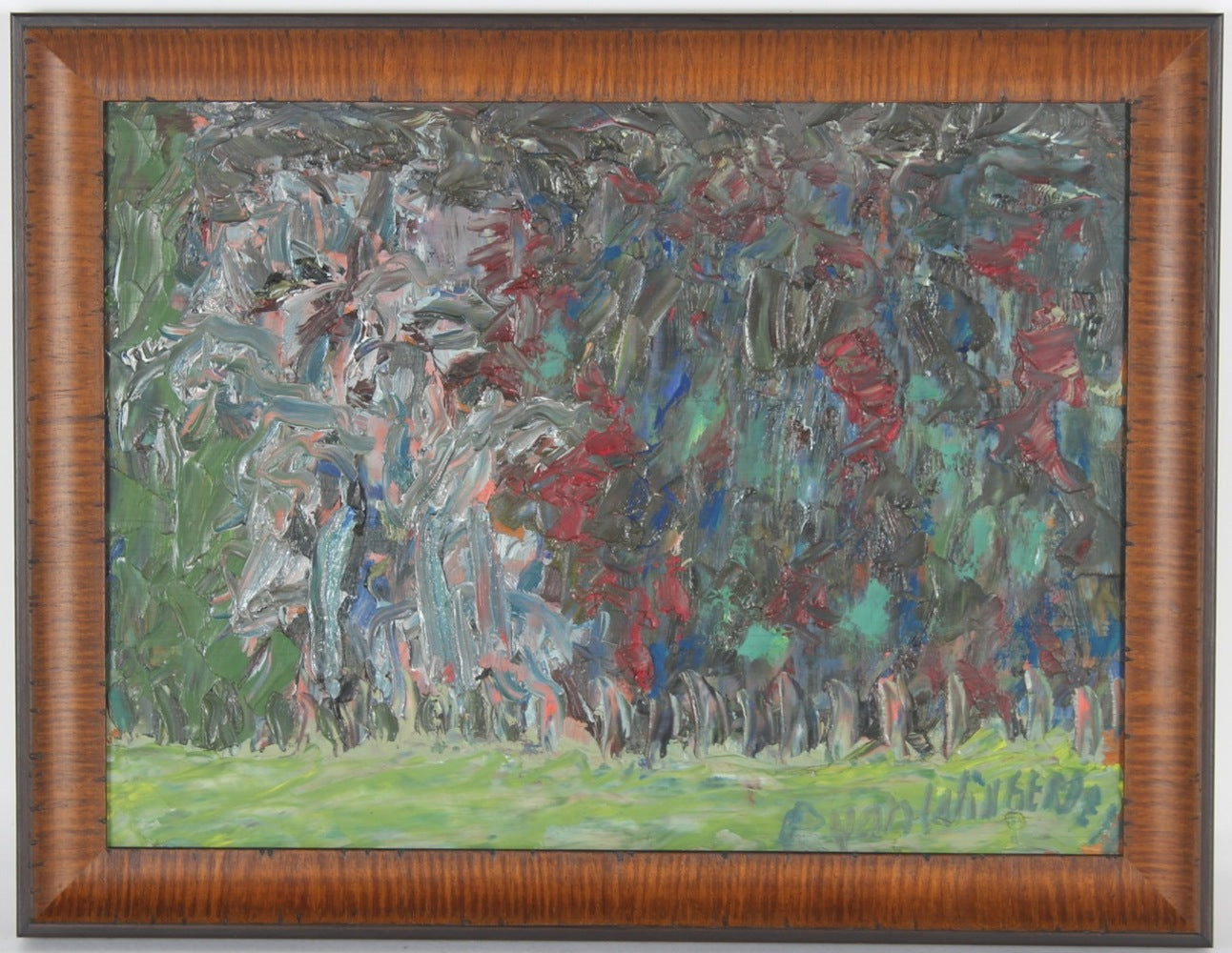 Sausalito Teahouse Landscape Abstraction<br>Mid Century Oil<br><br>#17161