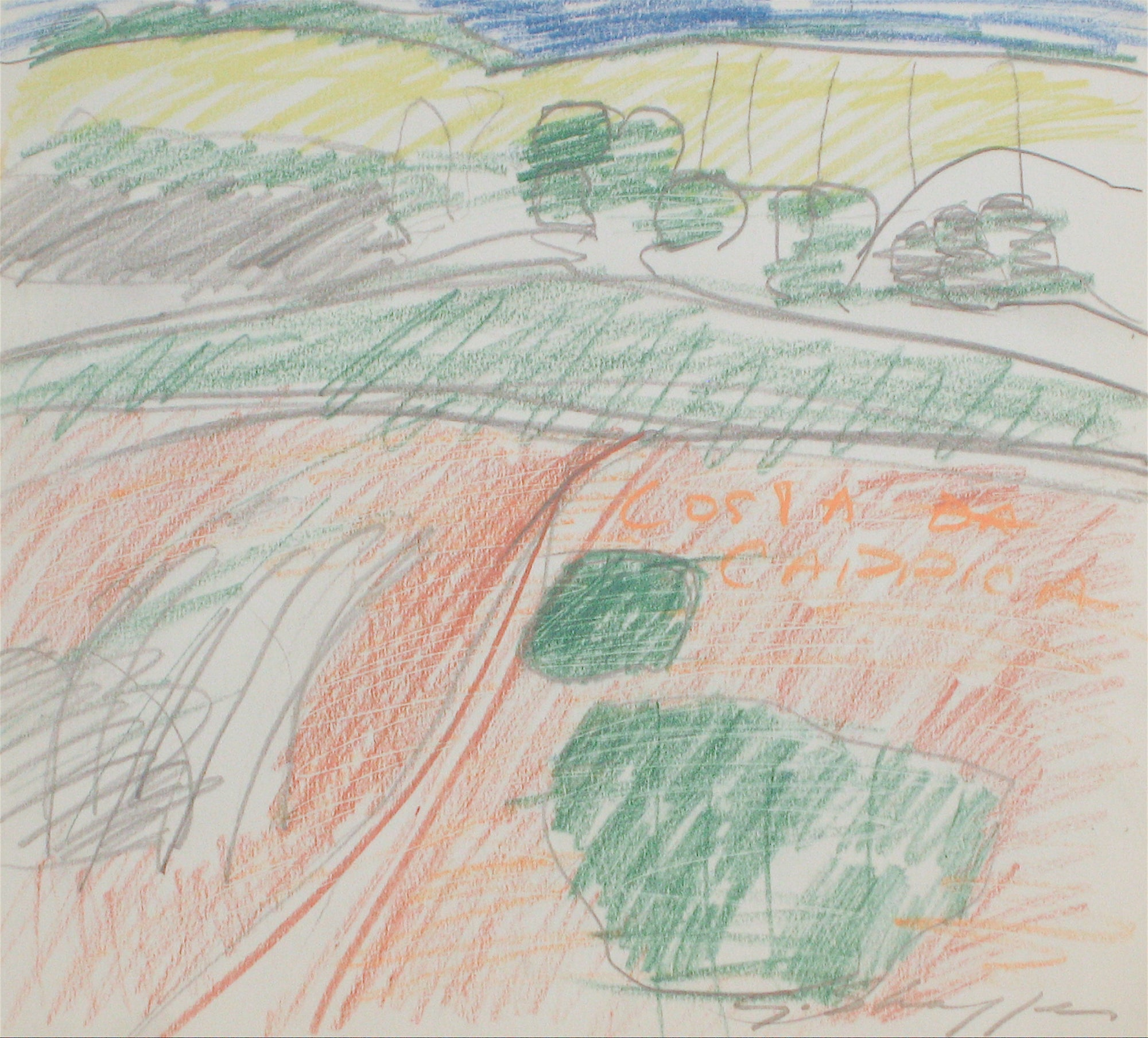 Rolling Hills Landscape <br>1971 Colored Pencil & Graphite Drawing <br><br>#8395