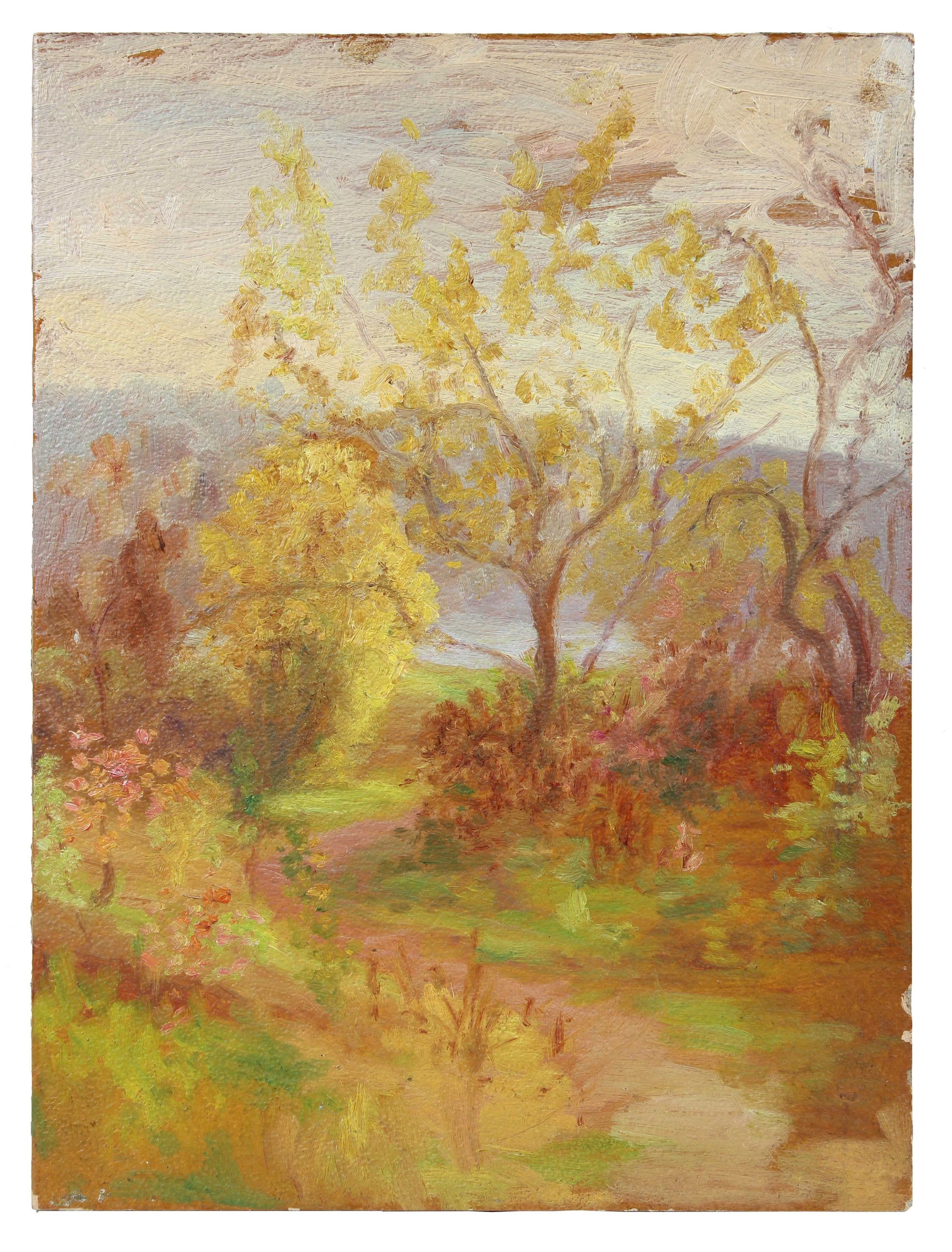 Rustic Trees & Path<br>1900-30s Oil<br><br>#A3521