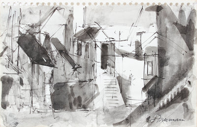 Expressionist San Francisco Homes <br>1976 Ink Wash <br><br>#A5034
