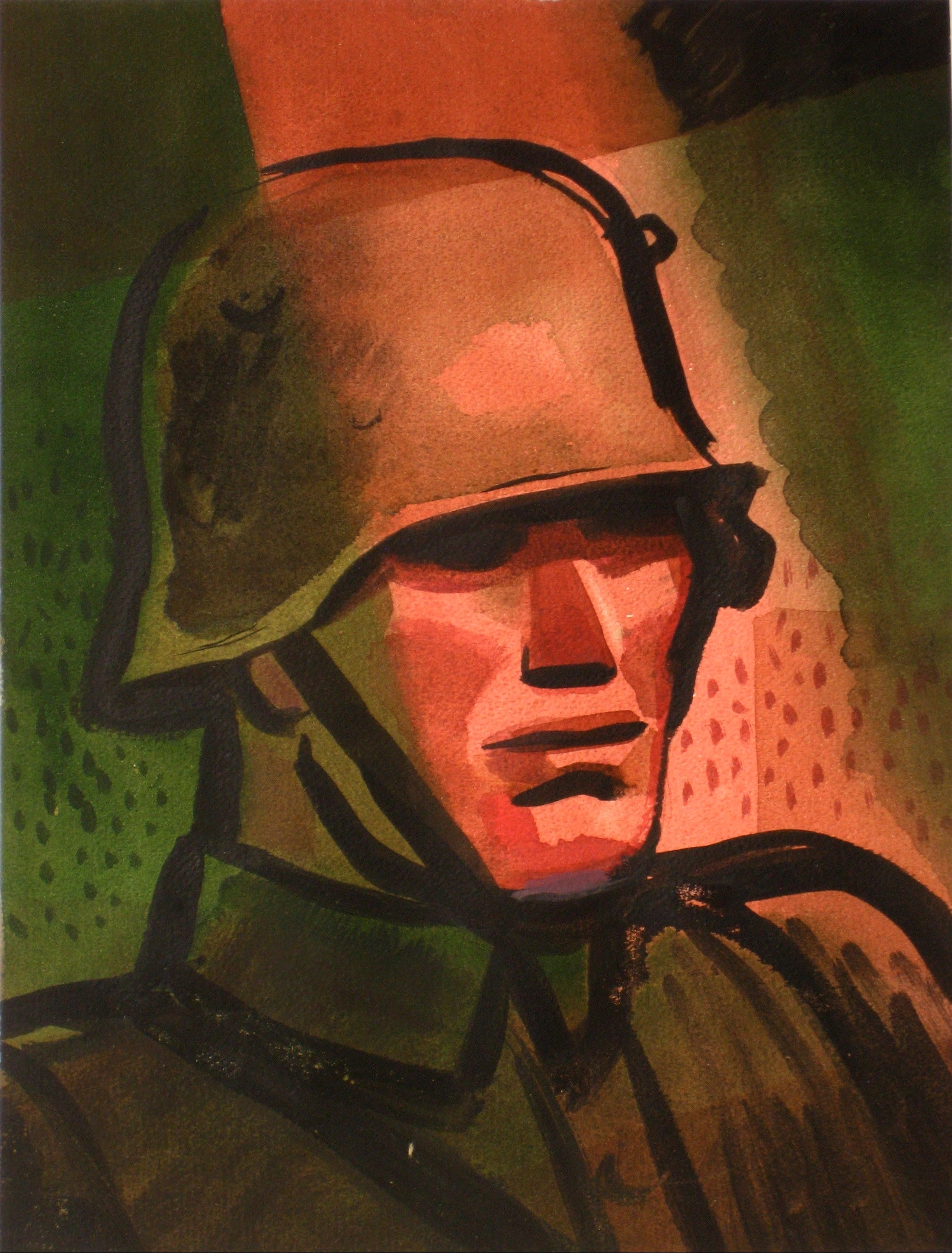 Portrait of a Soldier<br>1930-60s Watercolor<br><br>#13379