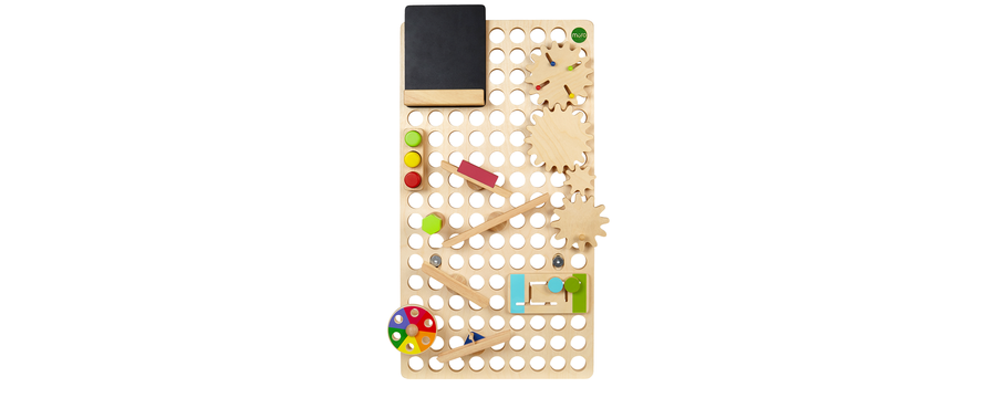 MURO toy with blackboard, traffic light blocks, wooden screw, colour spinner, peg slider, ramp pack and wooden gears connected through holes and plugs.