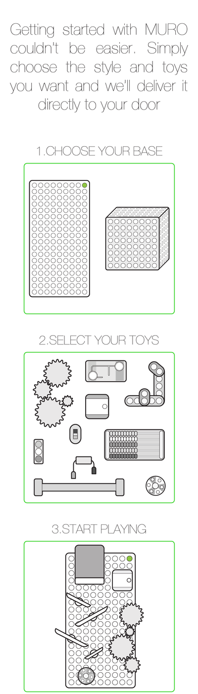 Get started with MURO. Select your style and toys then start playing.