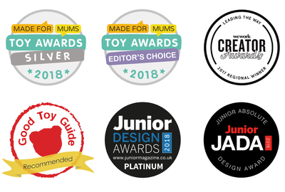 Muro awards including Junior Design award 2018, good toy guide, Baby London, Kickstarter, VOGUE bambini and Wework creator awards.