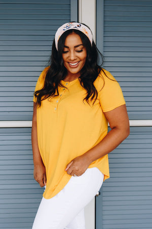 On The Button Basic Top In Marigold