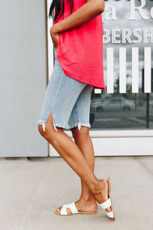 Side Slit Light Wash Bermuda Shorts