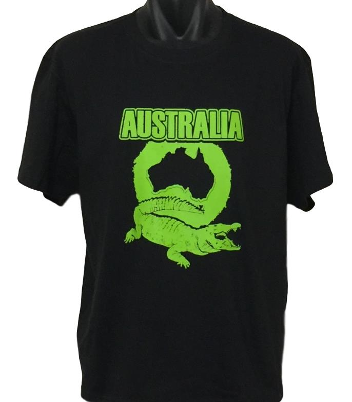 Australian Crocodile T-Shirt (Black, Regular and Big Sizes)