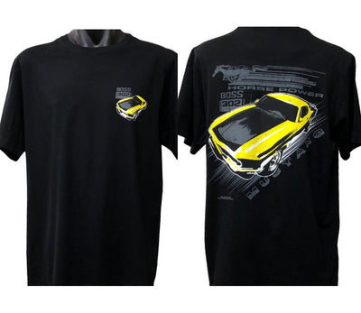 Ford Mustang Vintage Yellow Boss T-Shirt (Black, Double-Sided)