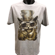 Steampunk Cat T-Shirt (Grey, Regular and Big Sizes)