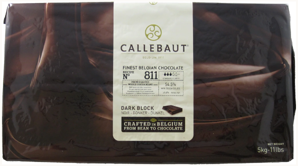 Callebaut 811-NV-132 BLOCK 11 LB Dark Couverture Semi-sweet Chocolate