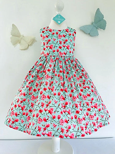 The Wishfairy Eve Dress 'Magnolia Flowers on Mint Blue'