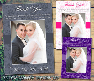 Elegant Dalmask Photo Personalised Wedding Thank You Cards ~ QUANTITY DISCOUNT AVAILABLE