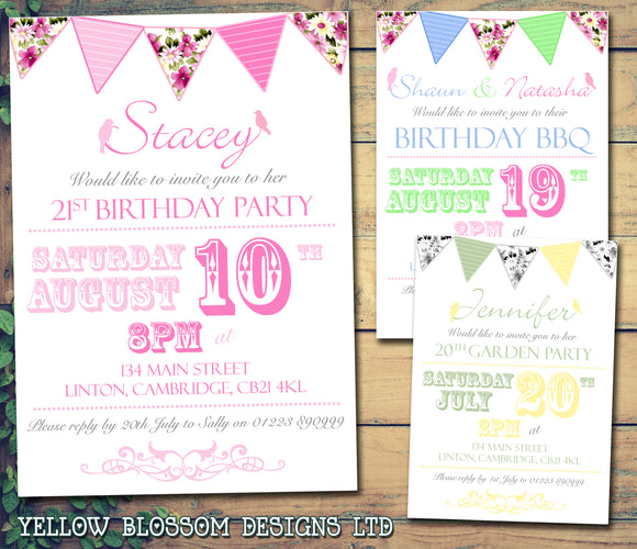 Adult Birthday Invitations Female Male Unisex Joint Party Her Him For Her - Garden Bunting Birds ~ QUANTITY DISCOUNT AVAILABLE - YellowBlossomDesignsLtd