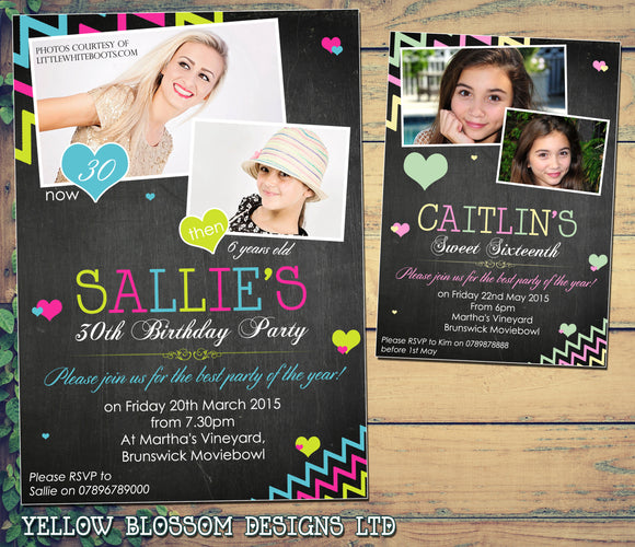 Adult Birthday Invitations Female Male Unisex Joint Party 18th 21st 30th 40th 50th 60th - Zig Zags Blackboard Photo Print ~ QUANTITY DISCOUNT AVAILABLE - YellowBlossomDesignsLtd