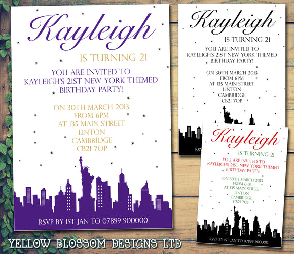 Personalised Birthday Invitations Female Male Unisex Joint 18th 21st 30th 40th 50th 60th New York Skyline  ~ QUANTITY DISCOUNT AVAILABLE