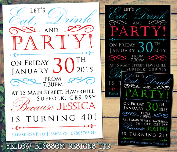Adult Birthday Invitations Female Male Unisex Joint Party Her Him For Her - Let's Eat Drink & Party ~ QUANTITY DISCOUNT AVAILABLE - YellowBlossomDesignsLtd