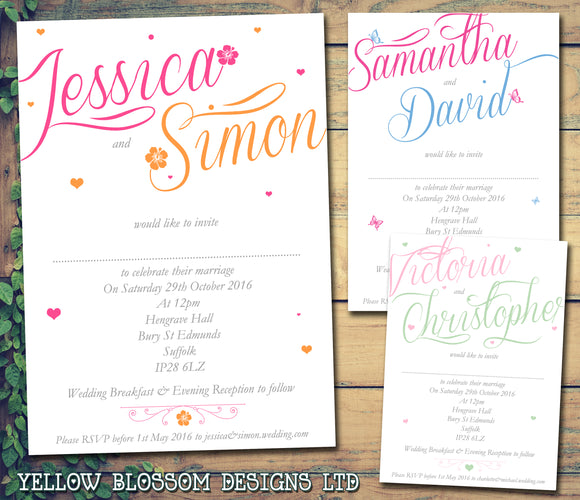 Flowers Pink Orange Blue Pink Green Abroad Wedding Day Evening Invitations Personalised Bespoke ~ QUANTITY DISCOUNT AVAILABLE