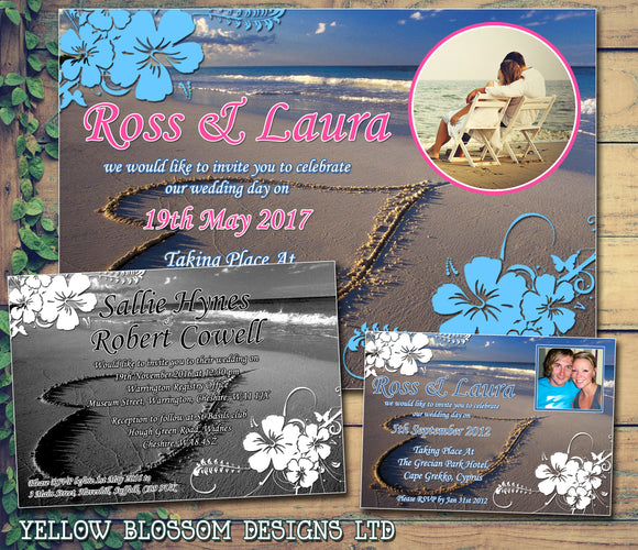 Abroad Beach Photo Wedding Day Evening Invites Personalised ~ QUANTITY DISCOUNT AVAILABLE - YellowBlossomDesignsLtd
