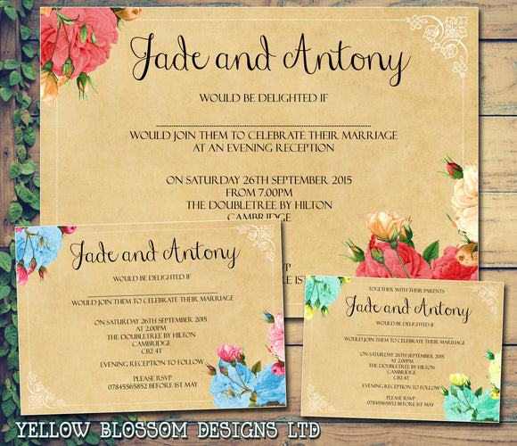 Vintage Roses Flowers Shabby Chic Wedding Day Evening Invitations Personalised Bespoke ~ QUANTITY DISCOUNT AVAILABLE