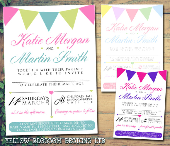 Bunting Pastel Colours Wedding Day Evening Invitations Personalised Bespoke ~ QUANTITY DISCOUNT AVAILABLE - YellowBlossomDesignsLtd