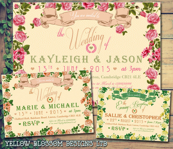 Garden Roses Flowers Party Wedding Day Evening Invitations Personalised Bespoke ~ QUANTITY DISCOUNT AVAILABLE