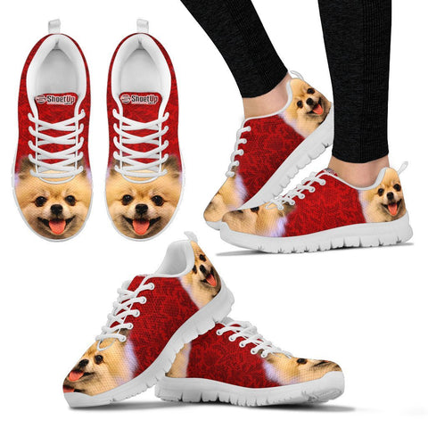 Cute Pomeranian On Red Print Running Shoes For Women