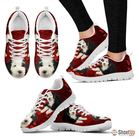 Old English Sheepdog Print Sneakers For Women(White)