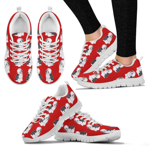 Old English Sheepdog Pattern Print Sneakers For Women Express Shipping
