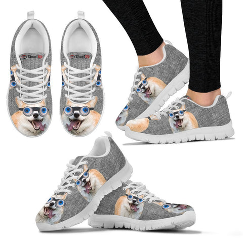 Cardigan Welsh Corgi With Eye Glasses Print Running Shoes For Women