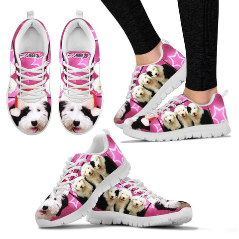 Old English Sheepdog On Pink Print Running Shoes For Women