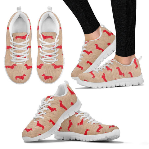Dachshund Red Pattern Print Sneakers For Women Express Shipping