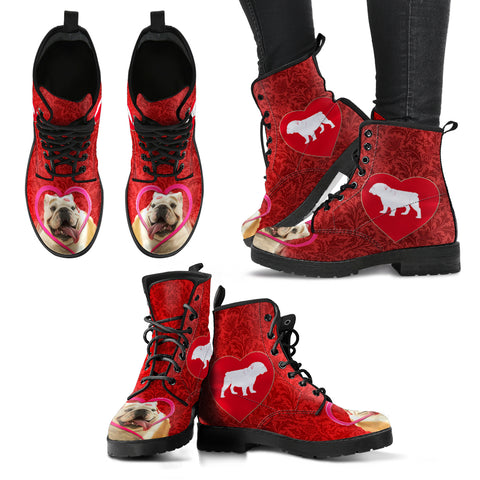 Valentine's Day Special Bulldog On Red Print Boots For Women
