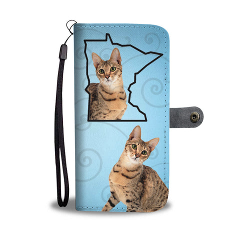 Savannah Cat Print Wallet CaseMN State