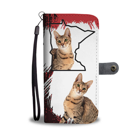 Amazing Savannah cat Print Wallet CaseMN State