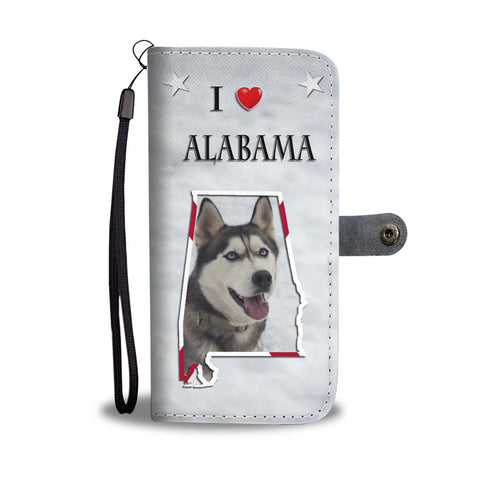 Cute Siberian Husky Print Wallet CaseAL State