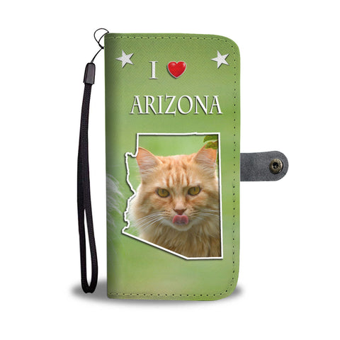 Cute Maine Coon Cat Print Wallet CaseAZ State