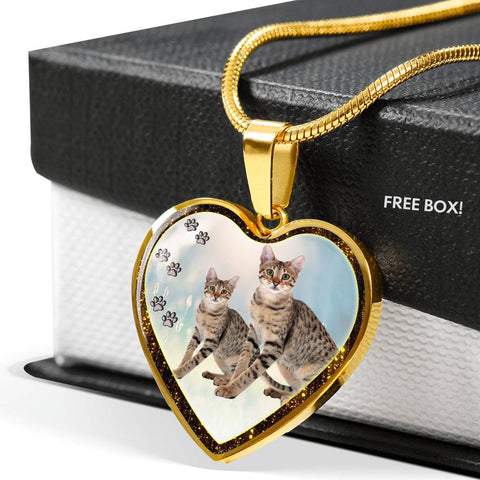 Savannah Cat Print Heart Charm Necklaces