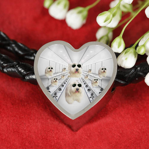 Cute Old English Sheepdog Dog Print Heart Charm Leather Bracelet