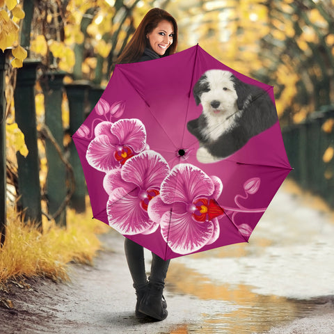 Old English Sheepdog Floral Print Umbrellas