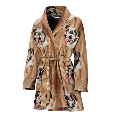 Amazing Bulldog Print Women's Bath Robe