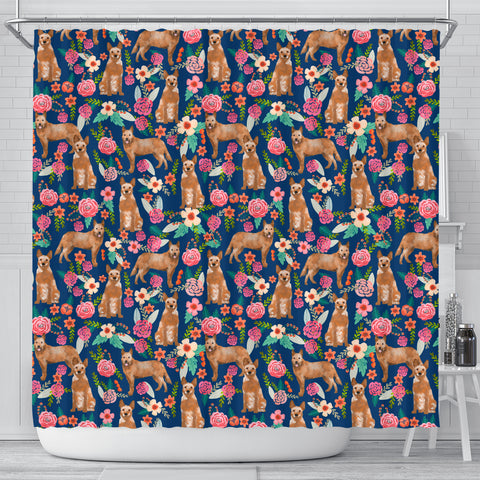 Australian Cattle Dog Floral Print Shower Curtains