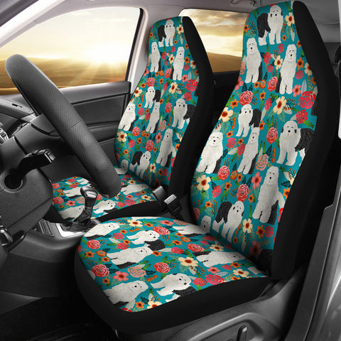 Old English Sheepdog Floral Print Car Seat Covers