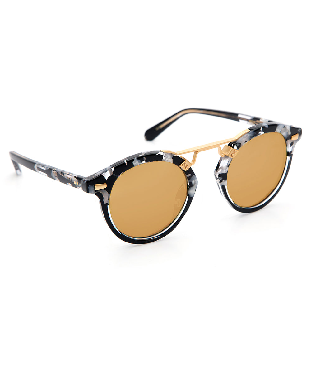 STL II | Interstellar to Black Crystal 24K - round Sunglasses handcrafted from acetate featuring 24K gold hardware.